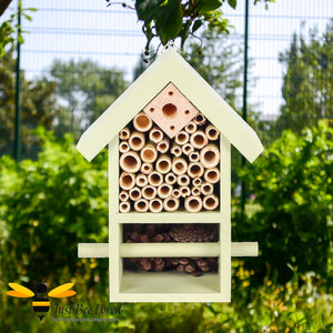 Wooden Bee and bug hotel house for garden certified by the Forest Sustainability Council