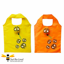 Load image into Gallery viewer, Novelty Bee Shopper Tote Bags featuring design of bumble bees print and matching bag carrier bee pouch in colours of yellow and orange