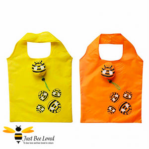 Novelty Bee Shopper Tote Bags featuring design of bumble bees print and matching bag carrier bee pouch in colours of yellow and orange