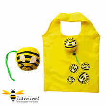 Load image into Gallery viewer, Just Bee Loved Novelty Bee Shopper Tote Bags featuring design of bumble bees print and matching bag carrier pouch