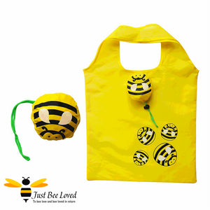 Just Bee Loved Novelty Bee Shopper Tote Bags featuring design of bumble bees print and matching bag carrier pouch