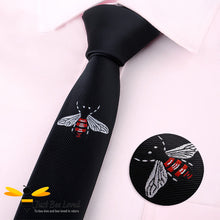 Load image into Gallery viewer, Men's handmade bee embroidered skinny tie in black 5cm width