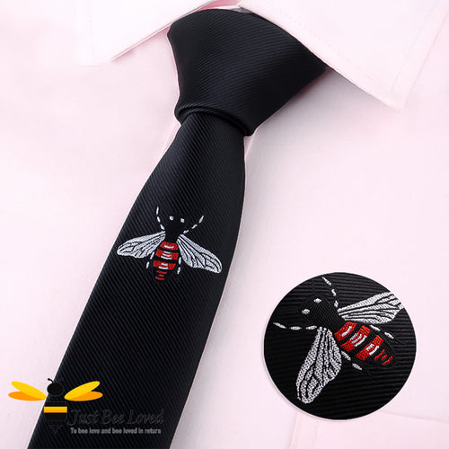 Men's handmade bee embroidered skinny tie in black 5cm width