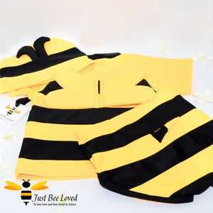 3 piece bumble bee swimming suit costume for boys featuring top, trunks with matching hat.