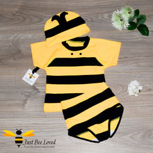 Load image into Gallery viewer, 3 piece bumble bee swimming suit costume for boys featuring top, trunks with matching hat.