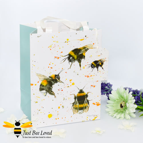 Bree Merryn Medium sized gift bag featuring her fine art painting of bumblebees against colourful splash background, with gift tag