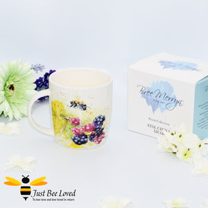 Fine china mug featuring fine art painting of bumblebee and blackberries by Bree Merryn