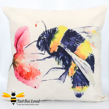 Load image into Gallery viewer, Large scatter cushion with watercolour artwork design of a bumblebee foraging on wild poppy flower