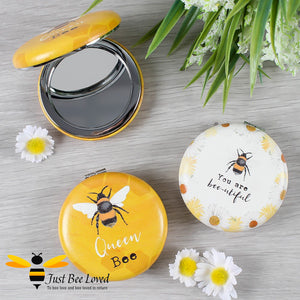 """You are bee-utiful"" and ""Queen Bee"" Compact Make-up Bee Mirror"