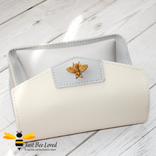 Load image into Gallery viewer, Just Bee Loved Mini Stylish Soft PU Leather Crossbody Handbags with gold bee embellishment in grey and white colours