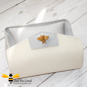 Just Bee Loved Mini Stylish Soft PU Leather Crossbody Handbags with gold bee embellishment in grey and white colours