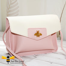 Load image into Gallery viewer, Just Bee Loved Mini Stylish Soft PU Leather Crossbody Handbags with gold bee embellishment in pink and white colour