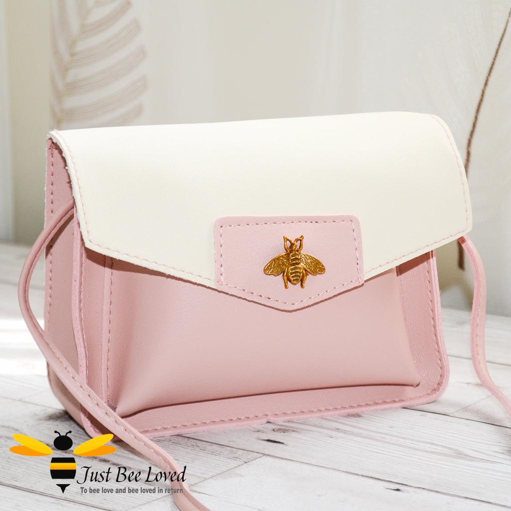 Just Bee Loved Mini Stylish Soft PU Leather Crossbody Handbags with gold bee embellishment in pink and white colour