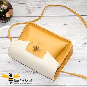 Just Bee Loved Mini Stylish Soft PU Leather Crossbody Handbags with gold bee embellishment in mustard colour