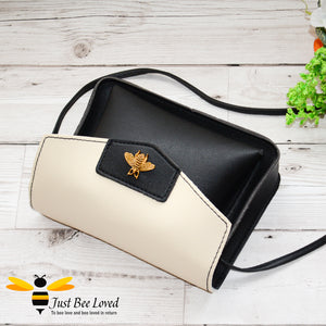 Just Bee Loved Mini Stylish Soft PU Leather Crossbody Handbags with gold bee embellishment in black and white colours