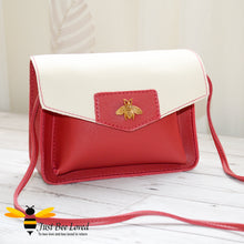 Load image into Gallery viewer, Just Bee Loved Mini Stylish Soft PU Leather Crossbody Handbags with gold bee embellishment in red and white colour