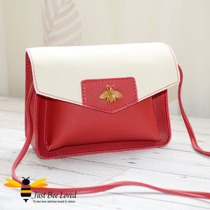 Just Bee Loved Mini Stylish Soft PU Leather Crossbody Handbags with gold bee embellishment in red and white colour