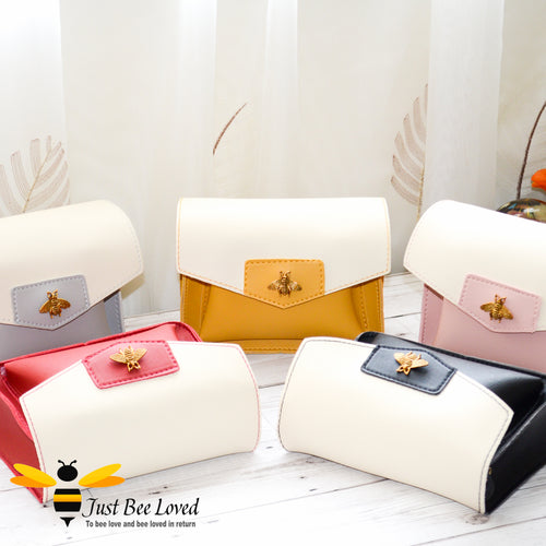 Just Bee Loved Mini Stylish Soft PU Leather Crossbody Handbags with gold bee embellishment
