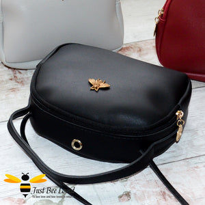 Just Bee Loved Small PU Leather cross body handbag with gold bee embellishment available in four colours, black, burgundy, grey, pink