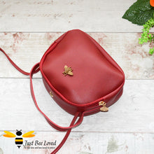 Load image into Gallery viewer, Just Bee Loved Small PU Leather cross body handbag with gold bee embellishment available in four colours, black, burgundy, grey, pink