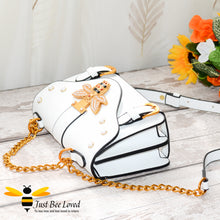 Load image into Gallery viewer, Just Bee Loved Satchel Style PU Leather Handbags featuring large bee buckle embellished with rhinestones and pearl studs in colour cream
