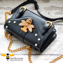 Load image into Gallery viewer, Just Bee Loved Satchel Style PU Leather Handbags featuring large bee buckle embellished with rhinestones and pearl studs in colour black
