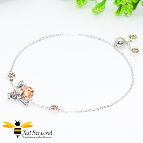 Sterling silver 925 Queen Honey Bee sliding bracelet with hexagon cubic zircon crystals