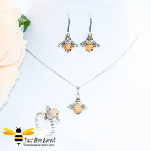 Load image into Gallery viewer, Sterling Silver 925 Queen Honey Bee 3-piece jewellery set featuring earrings, ring an necklace