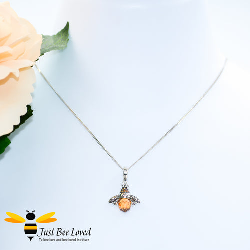 Sterling Silver 925 Queen Honey Bee Pendant Necklace