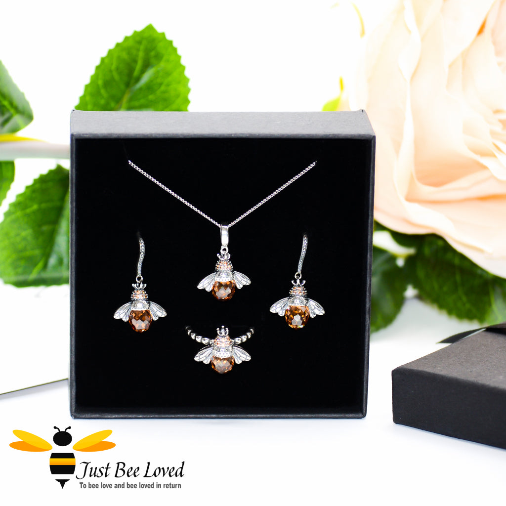 Sterling Silver 925 Queen Honey Bee 3-piece jewellery set featuring earrings, ring an necklace