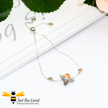 Load image into Gallery viewer, Sterling silver 925 Queen Honey Bee sliding bracelet with hexagon cubic zircon crystals