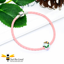 Load image into Gallery viewer, Sterling Silver 925 leather bracelet with sterling silver enamelled bee & flower charm bead