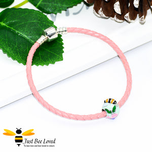 Sterling Silver 925 leather bracelet with sterling silver enamelled bee & flower charm bead