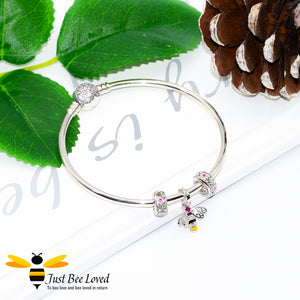 Sterling Silver 925 Bangle with two rose crystal charms and sterling silver bee charm