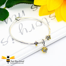 Load image into Gallery viewer, Sterling Silver 925 snake charm bracelet with two enamelled bee charms and honeycomb crystal ball pendant
