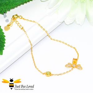 Sterling silver 925 1 carat Oval Citrine Bee Bracelet with peridot honeycomb 14k gold plated
