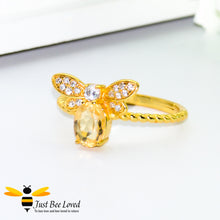 Load image into Gallery viewer, Sterling silver 925 14k Gold plated 1ct Oval Citrine Bee Ring with white cubic zircon