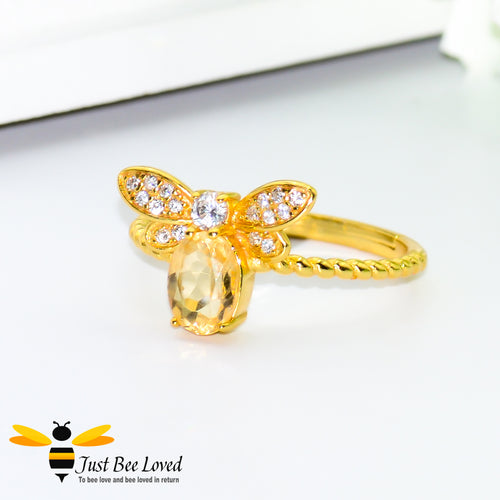 Sterling silver 925 14k Gold plated 1ct Oval Citrine Bee Ring with white cubic zircon