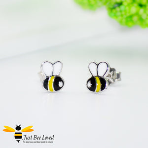 Sterling Silver 925 Black & Yellow Enamelled Stud Earrings
