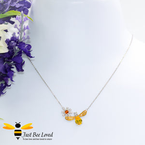 Sterling Silver 925 Bee & Daisy Pendant Necklace inlaid with orange and white cubic zircon crystals