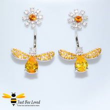 Load image into Gallery viewer, Sterling Silver 925 Bee & Daisy white and orange cubic zirconia crystal drop earrings
