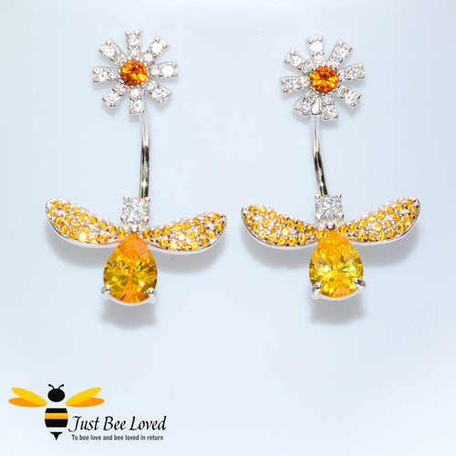 Sterling Silver 925 Bee & Daisy white and orange cubic zirconia crystal drop earrings