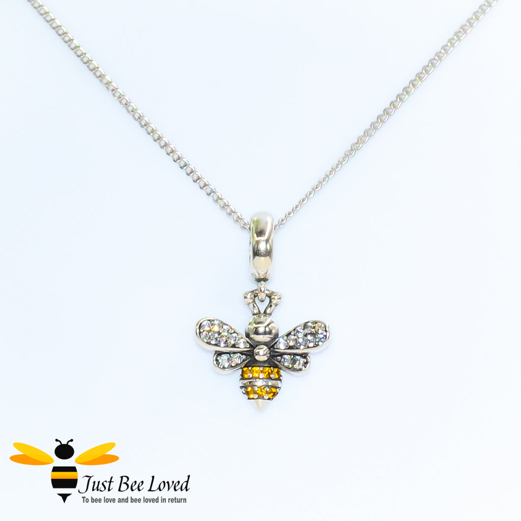 Sterling Silver 925 Necklace with sterling silver bee pendant encrusted with white and orange cubic zirconia