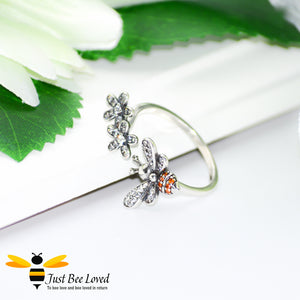 Sterling Silver 925 Bee & Flowers Open Ring