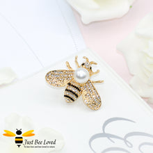 Load image into Gallery viewer, Pearl & Crystals Gold Plated Bee Brooch Bee Trendy Fashion Jewellery