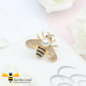 Pearl & Crystals Gold Plated Bee Brooch Bee Trendy Fashion Jewellery