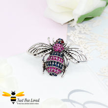 Load image into Gallery viewer, Silver Metallic Crystal Bee Brooch Bee Trendy Fashion Jewellery
