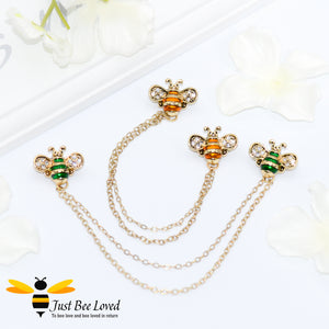 Twin Bee Double Chain Brooch Bee Trendy Fashion Jewellery