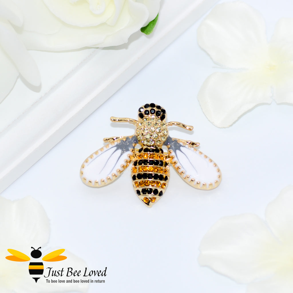 Pearl White Winged Black Zircon Rhinestone Crystal Bee Brooch Bee Trendy Fashion Jewellery