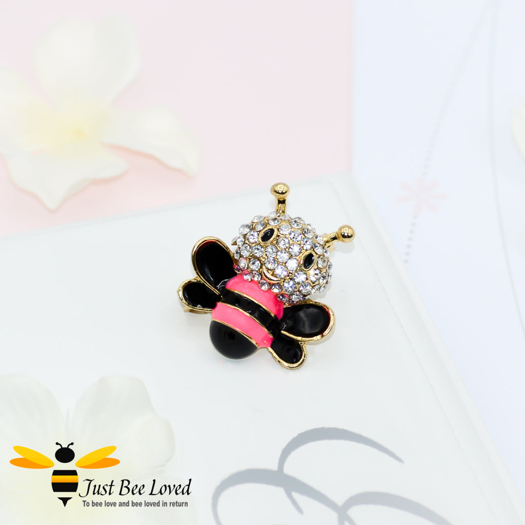 Cute Baby Bee Rhinestone Brooch Bee Trendy Fashion Jewellery